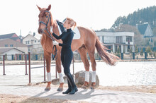 Beautiful Stylish Woman Walking With A Horse In A Country Club. Equestrian Sport, Horse Rental, Leisure Concept.