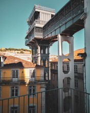 Low Angle View Of The Glory Elevator In Lisbon, Portugal