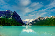 Scenic View Of Lake Louise By Mountains Against Sky