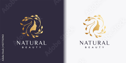 Woman logo with modern beauty style and business card design, natural beauty Pre Fotobehang