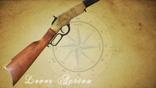 Lever Action Rifle With Old Used Paper In The Background Civil War Compass And Faded Text Lever Action