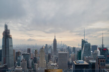 New York Skyline From The Top Of The Rock Observation Deck In Rockefeller Center Sunset View