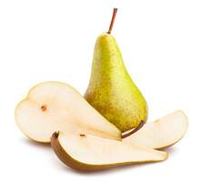 Sliced Pear Path Isolated On White