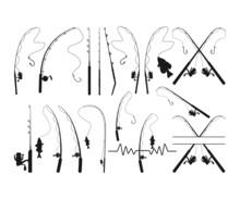 Fishing Rod Silhouette SVG, Fishing Rod Svg, Fishing Rod Clipart, Fishing Pole Svg, Fishing Hook Svg, Fishing Cricut, Png, SVG, EPS,Dxf