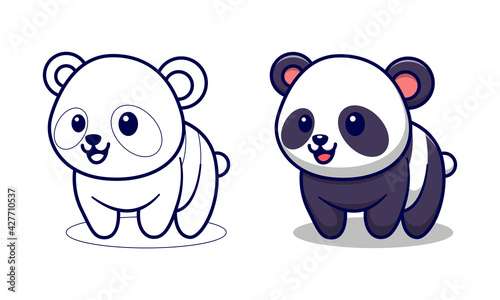 Cute panda cartoon coloring pages for kids