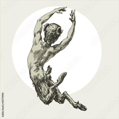 Fotografia Engraving faun jump to the moon.
