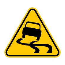 Slippery Road Traffic Sign. Yellow Triangle Warning Road Sign With Skidding Car Icon Inside. Vector Illustration Of Skid Risk Symbol Isolated On White Background.