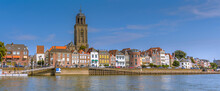 Deventer, The Netherlands - August 27 2016: Dutch City Deventer  Skyline Panorama View With The Great Church Of Lebuines Along Side The IJssel River