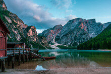Panoramic View Of Lake Braies In The Dolomites, Italy.