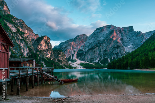 Fotografering Panoramic view of Lake Braies in the Dolomites, Italy.