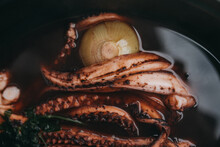 High Angle View Of Octopus In Plate