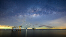 Milky Way And Square Dip Nets In Lake At Pakpra, Phatthalung, Thailand