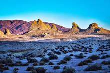 Desert Landscape At Trona Pinnacles Natural Rock Formations In California Usa