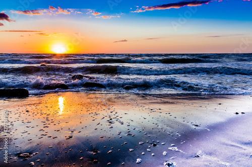 Fototapeta zachód słońca Poddąbie polska plaża obraz