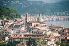 Panoramic View Of Vietri Sul Mare And In The Background Salerno To Mean A Concept