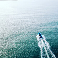 High Angle View Of  Speed Boat In The Sea