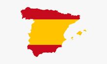 Spain Map Flag Vector Design On White Background