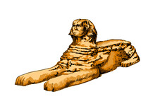 Great Sphinx Of Giza From A Splash Of Watercolor, Colored Drawing, Realistic. Vector Illustration Of Paints