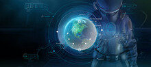 Fantastic Poster With A Man In A Spacesuit And Infographics. 3D Render