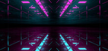 Sci Fy Neon Lamps In A Dark Hall. Reflections On The Floor And Walls. 3d Rendering Image.