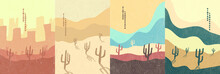 Vector Illustration. Abstract Landscape Background. Hand Drawn Pattern Design. Geometric Template. Ornamental Poster Concept. Vintage Art. 70s, 80s Retro Graphic. Wilderness. Cactuses And Hills