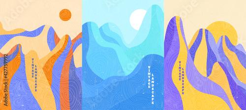 Fotografie, Obraz Vector illustration landscape set