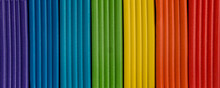 Rainbow Colors Of Modeling Clay. Multicolored Plasticine Bars Isolated On White Background.