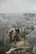 Close Up View Of Steaming Rocks In Southern Geyser In New Zealand