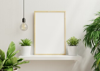 Interior poster mock up with vertical empty wooden frame,Scandinavian style.