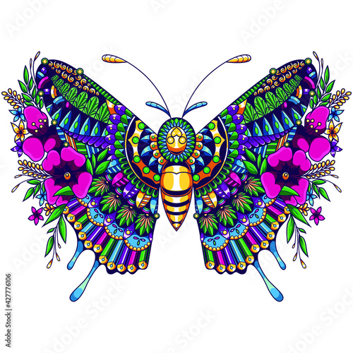 Fotografia, Obraz butterfly mandala illustration design vector