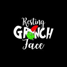 Resting Grinch Face Phrase Vector For Christmas. Xmas Greetings Cards, Invitations. Good For T-shirt, Mug, Scrap Booking, Gift, Printing Press