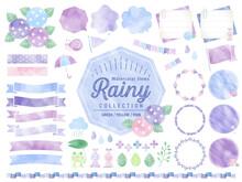 梅雨、雨、水彩、フレーム 、イラスト、バナー、吹き出し / 紫陽花、花、自然