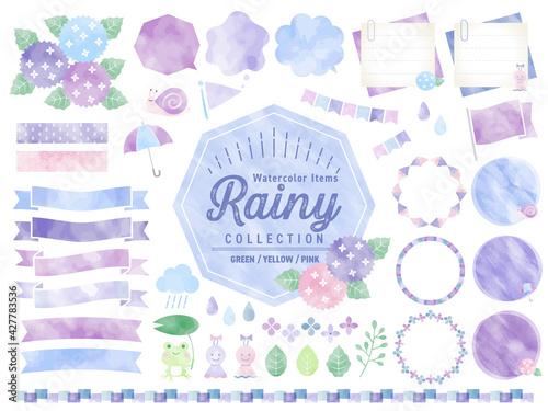 Obraz 梅雨、雨、水彩、フレーム 、イラスト、バナー、吹き出し / 紫陽花、花、自然 - fototapety do salonu