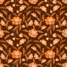 Yellow Brown Flowers And Leaf Seamless Pattern.