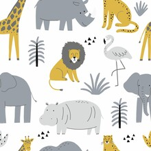 Cute Wild Safari African Animals - Vector Illustration. Seamless Pattern With Elephant, Hippo, Giraffe, Lion, Flamingo. Cartoon Doodle Characters In Scandinavian Style For Ch