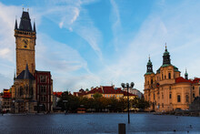 View From Below Of Old Town City Hall And Church From Old Town Square In Prague
