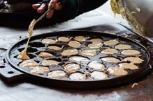How To Produce Khanom Khai. Khanom Khai Is A Thai Traditional At Nang Ngam Road, Songkla, Thailand.