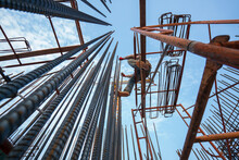 (Selective Focus) Construction Workers Working On Structural Deformed Steel Buildings.