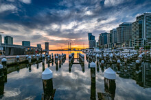 Scenic View Of The Docklands Harbor During Sunset In Melbourne Australia