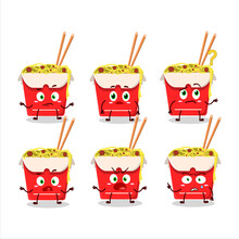 Cartoon Character Of Noodles Box With What Expression