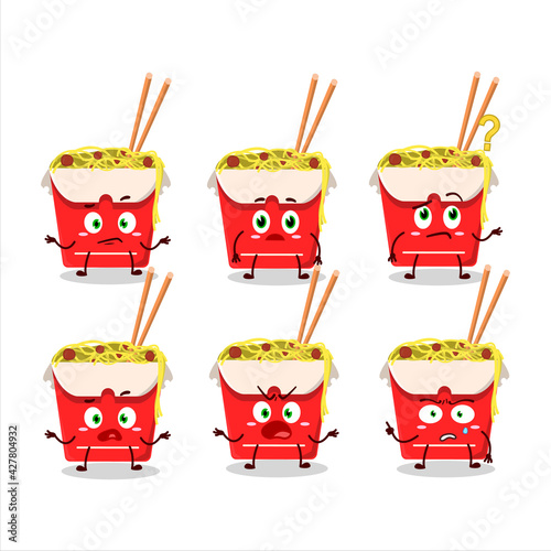 Photo Cartoon character of noodles box with what expression