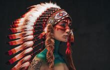 Tattooed Trendy Woman Wearing National Headwear From Feathers