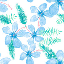 Blue Seamless Leaf. Gray Pattern Plant. Indigo Tropical Nature. White Flower Painting. Cobalt Drawing Botanical. Navy Watercolor Hibiscus. Spring Exotic.