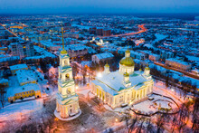 Night Aerial View Of Reconstructed Orthodox Spassky Cathedral In Russian City Of Penza In Winter.
