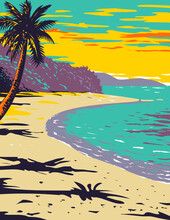 WPA Poster Art Of  Trunk Bay Beach Located Within Virgin Islands National Park On The Island Of St John In The Caribbean Sea Done In Works Project Administration Style  Or Federal Art Project Style.
