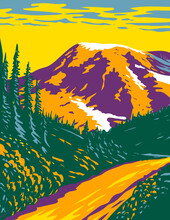 WPA Poster Art Of Mount Rainier National Park, An Active Stratovolcano In The Cascades Located In Pierce County And Lewis County In Washington State Done In Works Project Administration Style.