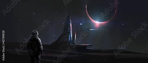 Foto The magnificent buildings on the alien planet, digital painting, 3D illustration