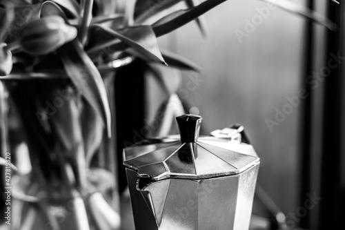 Fototapeta Close-up Of Coffee On Metal