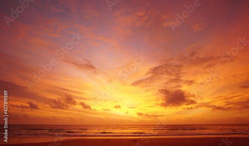 Fotografie, Obraz Scenic View Of Sea Against Orange Sky