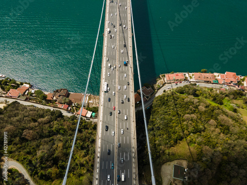 Billede på lærred Istanbul Strait and  Bosphorus Bridge Top View